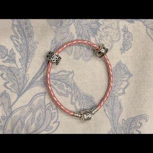 Pandora Pink Braided Leather Bracelet & 2 Clips